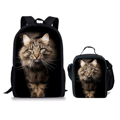 2Pcs/set School Bags Backpacks For Girls Boy's Cool Cat Bookbag Fashion - Cool Backpacks Girls