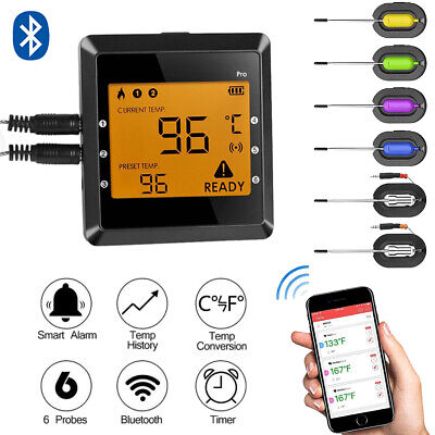 Digital Meat Thermometer Wireless Bluetooth BBQ Grill Food Cooking 6 Probes BT