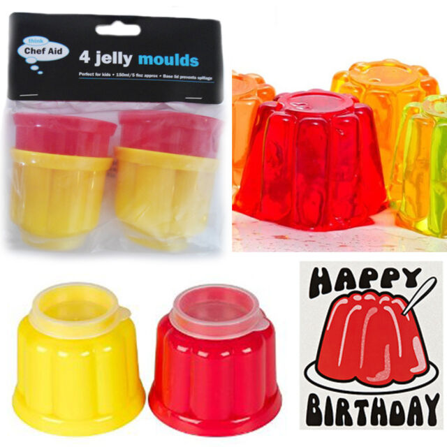 4 x Quality Jelly Moulds Perfect Kids Plastic Moulds With Base Lid Party Dome