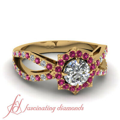 1.50 Carat Round Cut Diamond And Pink Sapphire Halo Style Engagement Rings GIA