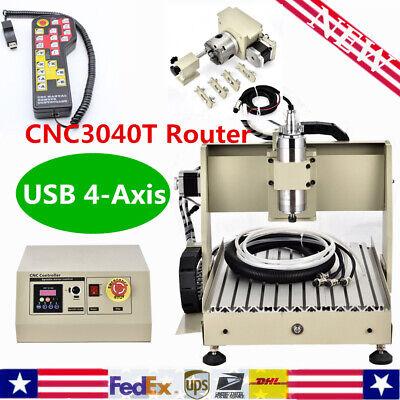 Usb 4-axis Cnc3040t Router 800w Engraving Engraver Metal Machinehandwheel Rc