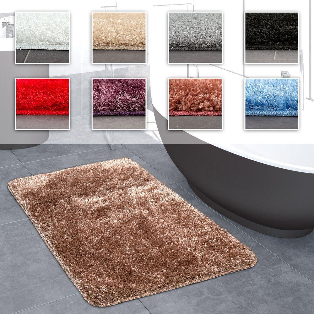 Hochflor Badezimmer Teppich Einfarbig Rutschfest In Versch. Größen u. Farben