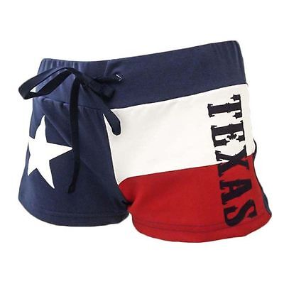 Womens Booty Shorts (TEXAS FLAG Shorts Womens Fleece Drawstring Cover Up Beach Booty Running USA)