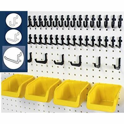 43 Pc. Peg Board Storage System - Pegboard Hook Assortment Organizer Bins Yb Am