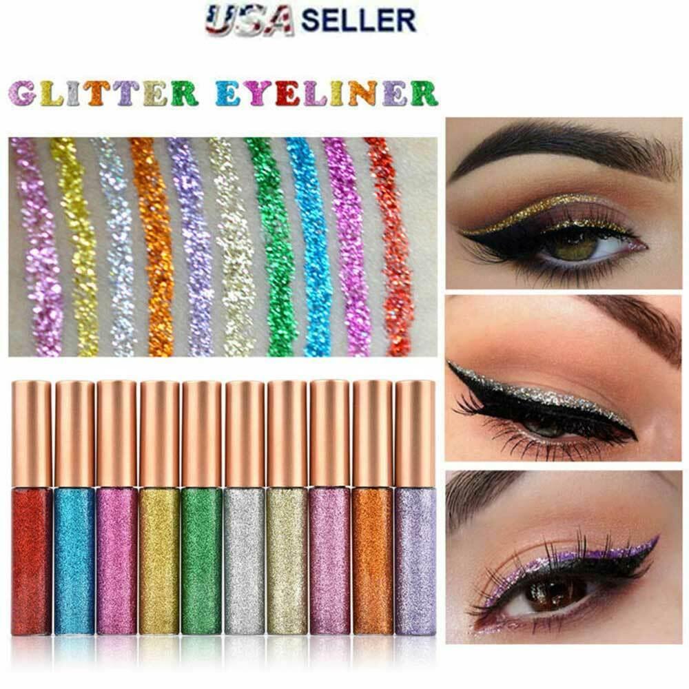 10 Colors GLITTER Waterproof Eyeshadow Liquid Eyeliner Makeu