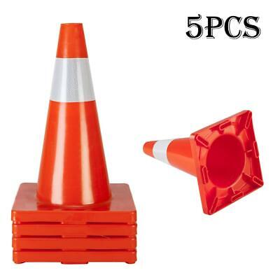 5x Traffic Cone Reflective Orange White Stripes Small Safety Cones Rubber