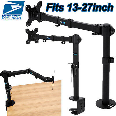 Single Arm Monitor Desk Table Mount Stand/For 1 LCD Fully Swivel Clamp Up to 27""