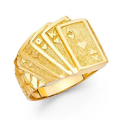 Men 14k Yellow Real Gold Playing Cards Gambling Casino Fashion Wedding Ring Band