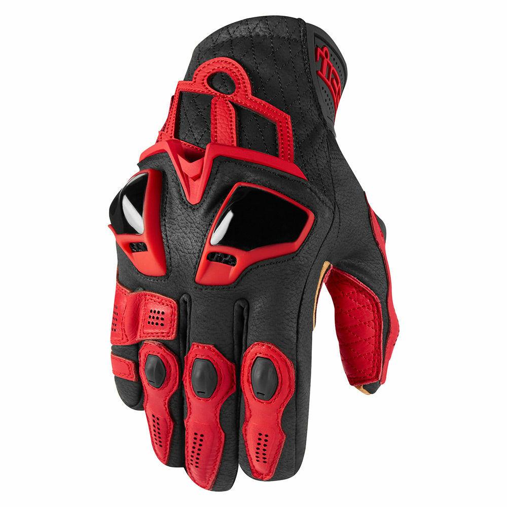 Icon Motosports HYPERSPORT Short Leather Riding Gloves Black Choose Size