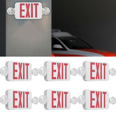Lot Red Exit Sign Led With Emergency Light Adjustable Dual Head Batterys Backup
