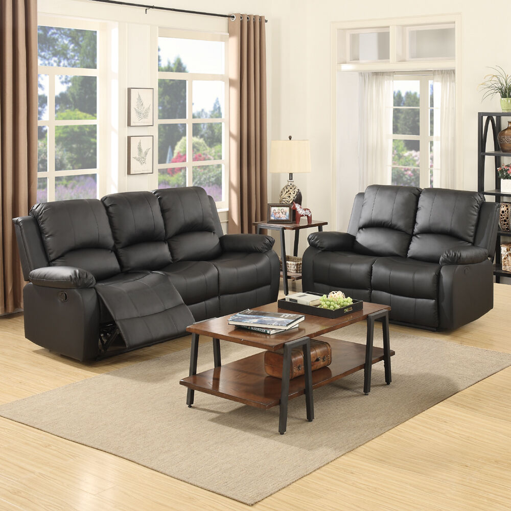 Details about 3+2 Seater Sofa Set Loveseat Couch Recliner Leather Living  Room Furniture Black