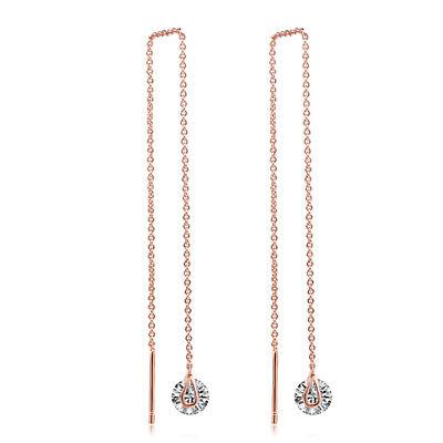 Rose Gold Crystal Threader Earrings Chain Ear Threads Drop Dangle CZ