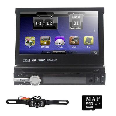 "Single 1DIN 7""HD Flip Out GPS Navigation Car Stereo DVD Player Bluetooth+Camera"