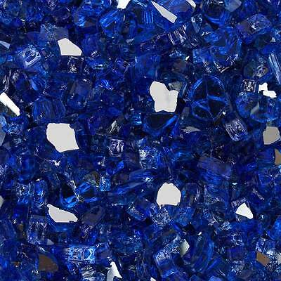 """High Luster, 1/2"""" Reflective Tempered Fire Glass in Meridian Blue 