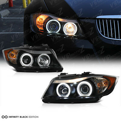 06-08 BMW E90 328 330 335 Sedan 4D Black CCFL LED Angel Eye Projector Headlight