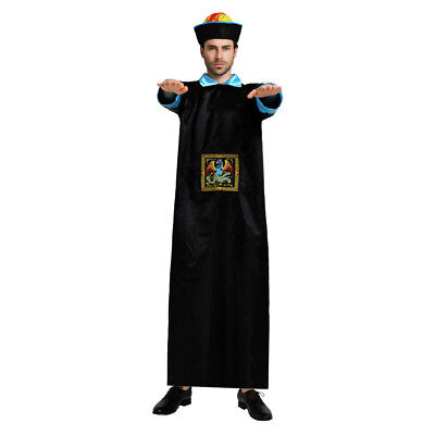 Chinese Style Mens Qing Dynasty Zombie Dress Up Costume Cosplay Halloween Outfit (Male Chinese Halloween Costumes)