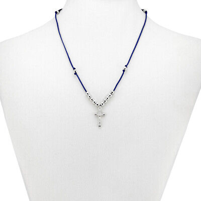 Rosary Crucifix pendant on Blue String Necklace