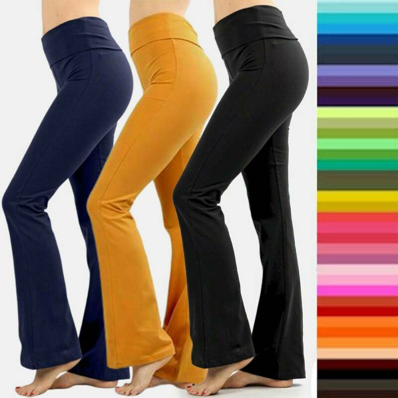 Zenana Womens Plus Size Stretch Cotton Fold Over Waist Flare Leg Yoga Pants