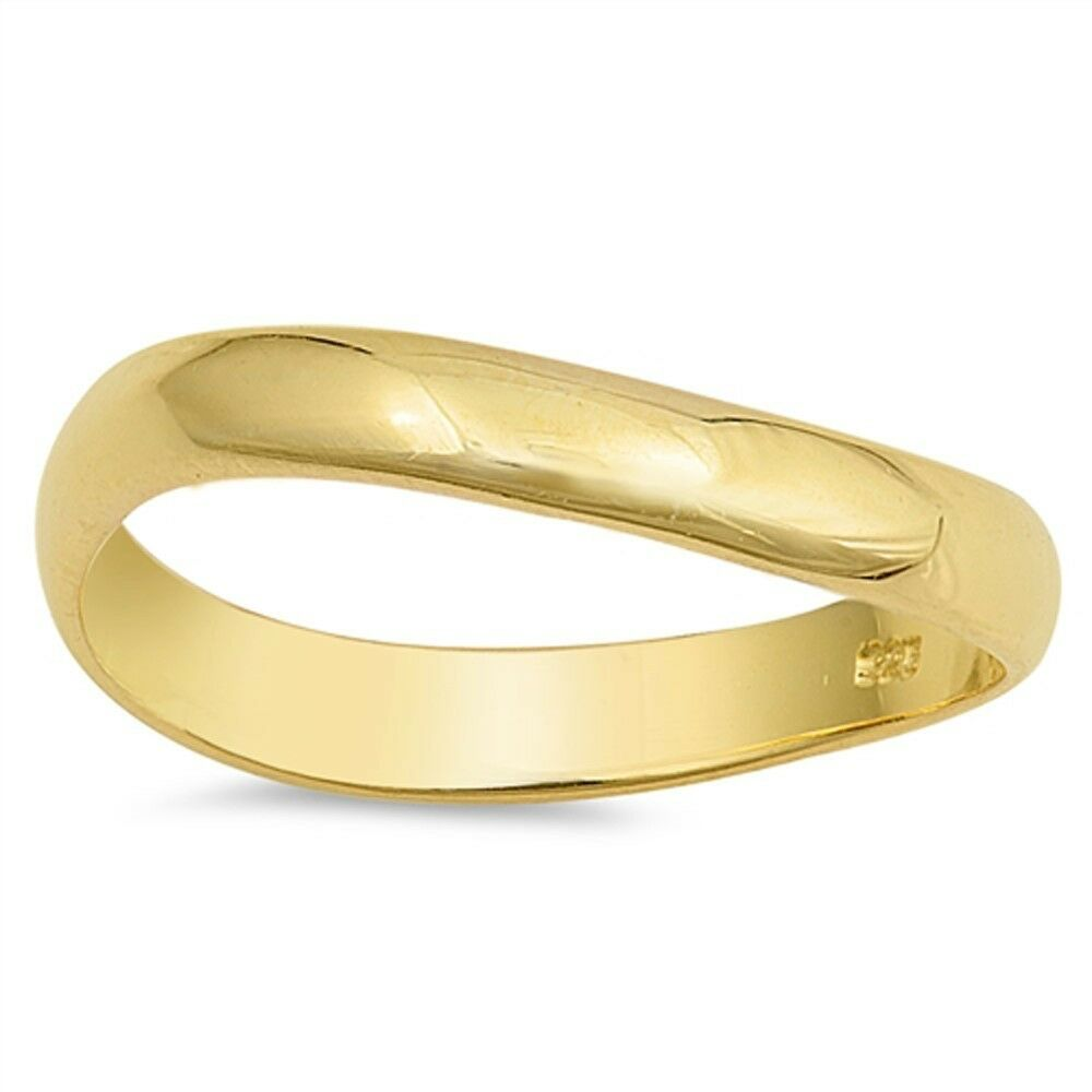 yellow gold plated plain curved solid thumb 925 sterling