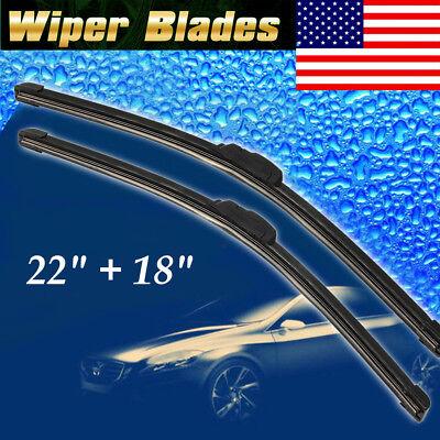 2Pack 22  18 ALL SEASON PREMIUM OEM BRACKETLESS WINDSHIELD WIPER BLADES