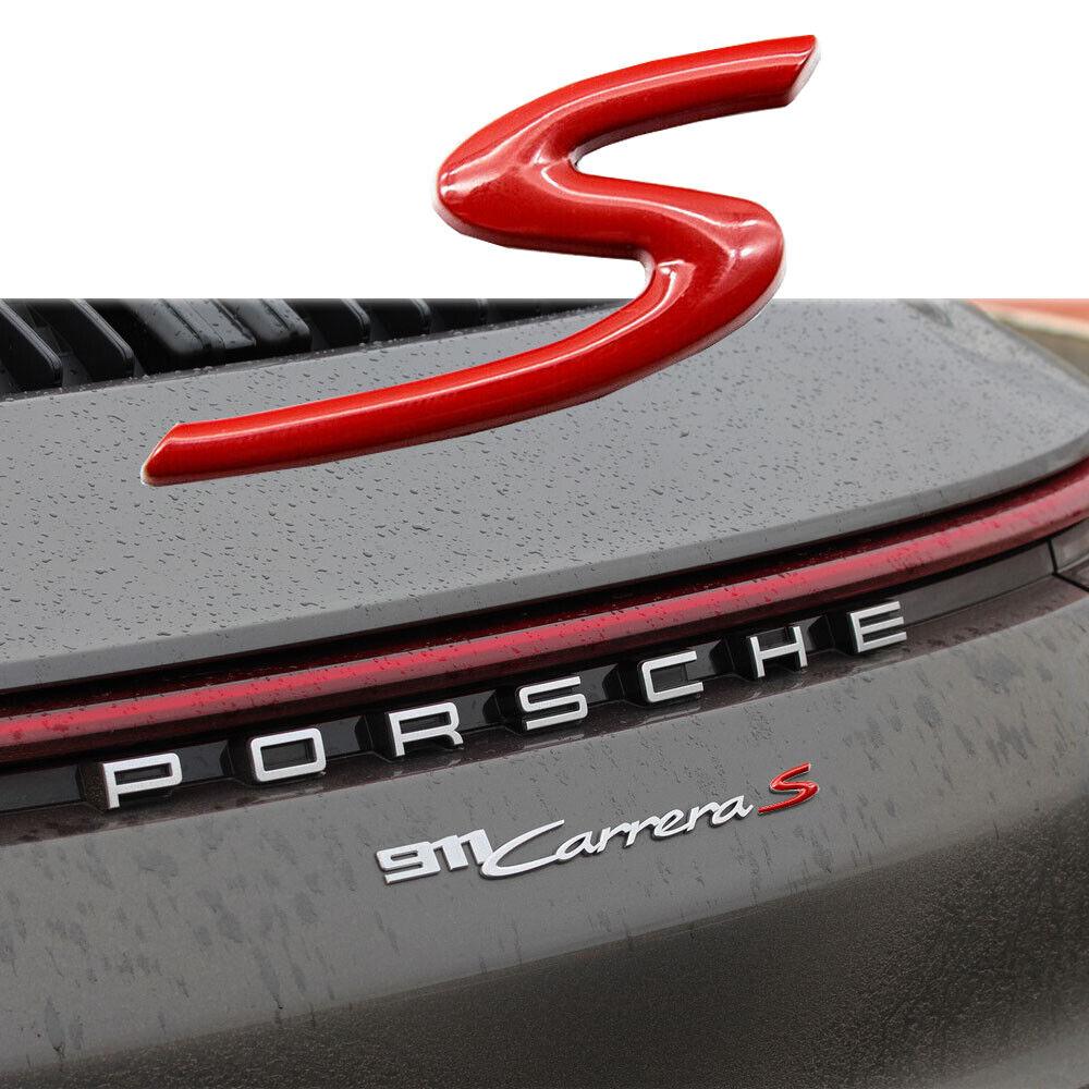 Metal Red S Logo Badge Rear Trunk Lid Emblem For Porsche Cayenne 718 Cayman 911