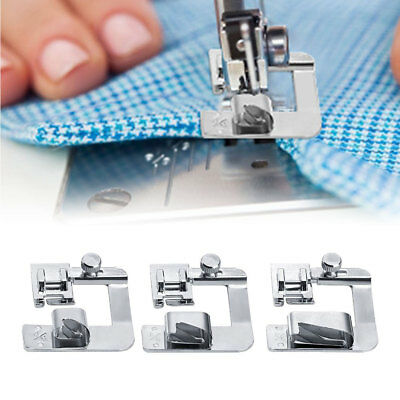"3-pack 1/2"" 3/4"" 1"" Rolled Hemmer Pressure Foot Sewing Machine Presser Machine"