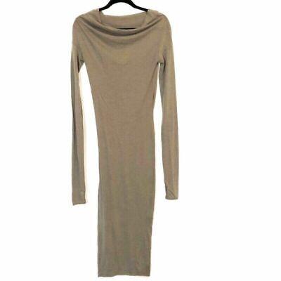 Isabel Benenato Angora Wool Maxi Dress Tan Drape Neck Lightweight Long Sleeve XS