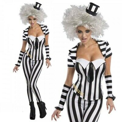 Beetle Halloween Costumes (Beetlejuice Ladies Licensed Halloween Fancy Dress Costume Beetle Juice)