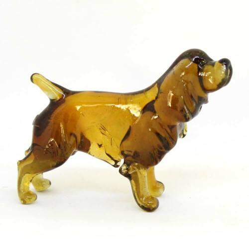Middle Russian art glass figurine Dog - English Springer Spaniel #126-3