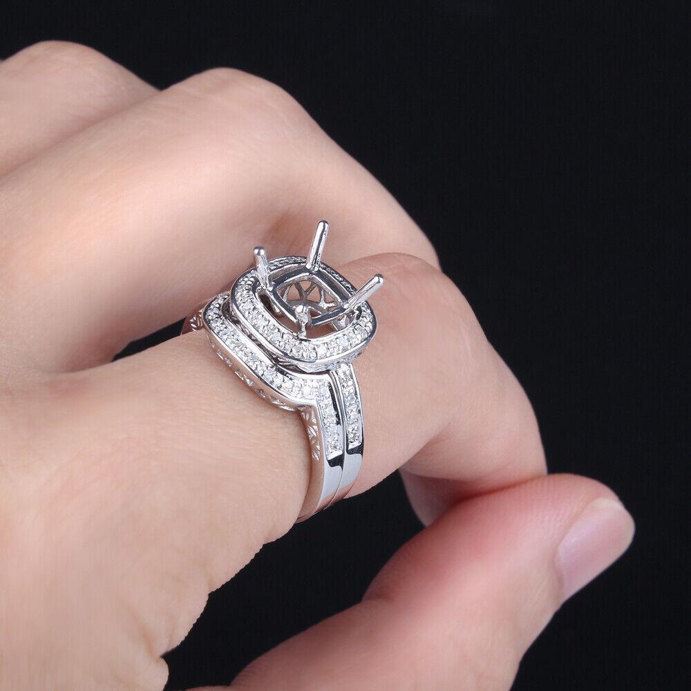 10K Oro Blanco Diamante Joyas Vintage Filigrana Compromiso Anillo ...