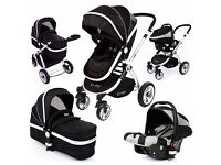 i-Safe System - Black Grey Travel System Pram & Luxury Stroller 3 in 1