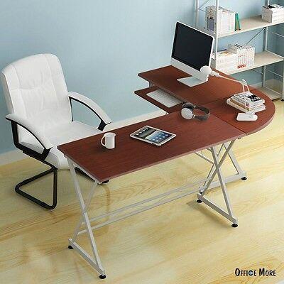 L-Shaped Corner Computer PC Desk Laptop Edibles Wood Workstation Home Office