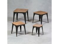 Iron And Wood Set Of 4 Industrial Tables/Stools