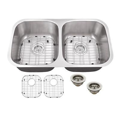"""Schon SC505018 All-in-One Stainless Steel 32"""" Double Bowl Kitchen Sink"""