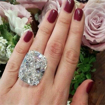 Bridal Party Jewelry Gifts - Women 925 Silver Huge White Sapphire Birthstone Ring Wedding Party Jewelry Gift