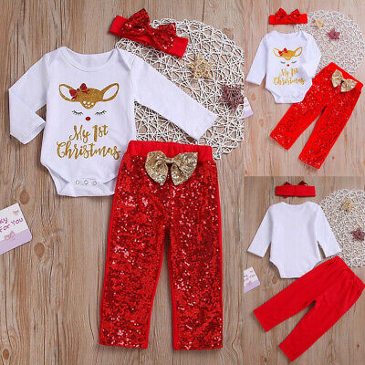 Newborn Baby Girl My 1ST Christmas Tops Romper Pants Hat Outfit Clothes 3Pcs -