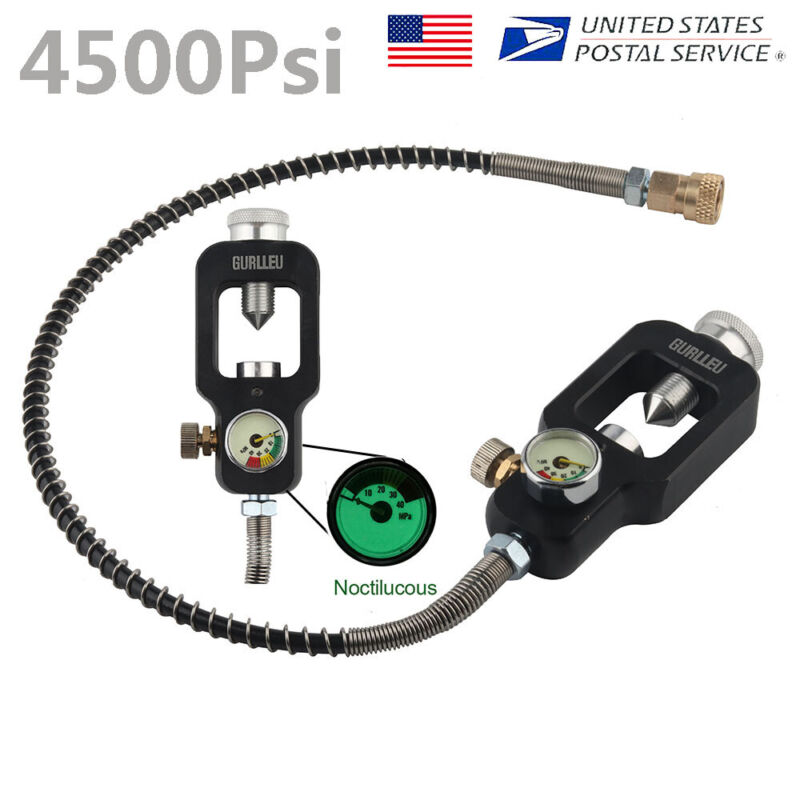 Scuba Diving Tank Refill HPA Fill Adapter Valve W/ High Pressure Hose 4500Psi US