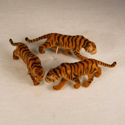 "Tiger Figure Animal 4 1/2"" Long Flocked 3 Piece Lot Fairy Garden"