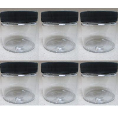 6 PET Plastic 2 Oz Empty Clear Containers Cosmetic Jars Cap Creams Makeup Travel - Craft Jars