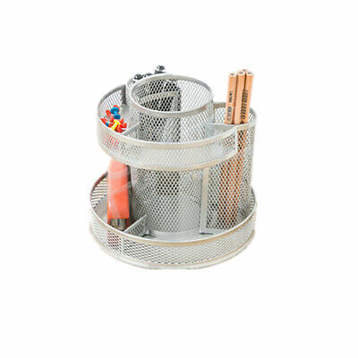 Pro Space Rotating Pencil Holder Steel Mesh Spinning Desk Organizer Silver