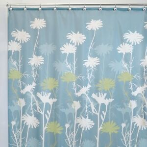 Shower Curtain Slate Blue Sky Sage Green Floral Daizy Flower Print Design Fabric