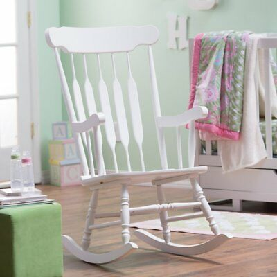 - Traditional Classic Spindle Styled White Wood Rocking Chair Nursery Rocker
