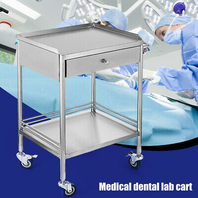 2 Layer Serving Lab Cart Trolley With One Drawer Stainless Steel Cart Stand Usa