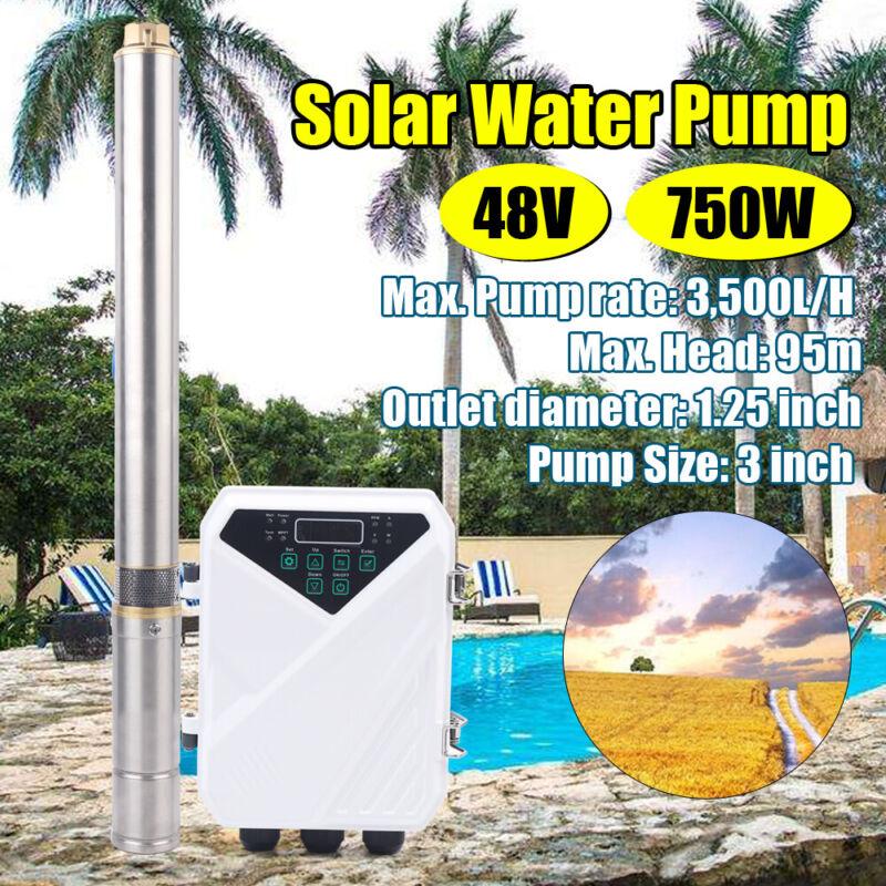 "3"" DC Solar Water Pump 48V Solar Submersible Well Pump +MPPT Controller 95m 750W"