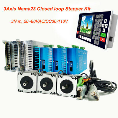 3axis 3nm Nema23 Stepper Motor Closed-loop Hybrid Servo Driver Kitcontroller