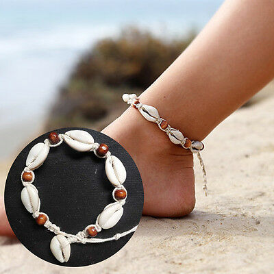 Natural Sea Shell Bead Anklet Cord Charm Bracelet Chain Boho Surf Foot Jewellery