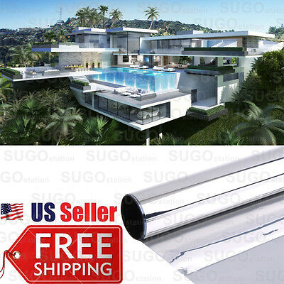 One Way Mirror Privacy Reflection Window Tint Film Stop Heat  Energy Save Solar