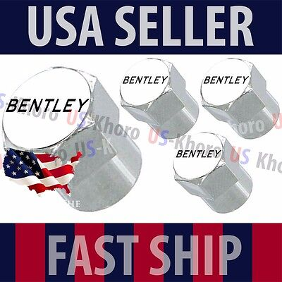 Bentley Text Logo Valves Stems Caps Covers Chrome Wheel Roundel Tire B Emblem US