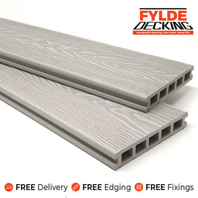 White Ash 3.6m Composite WPC Decking Natural Woodgrain DIY Kit  | FREE Delivery