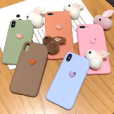 Xmas Gift Plush Cute Rabbit Phone Case Cover For iPhone 11 Pro Max XR Xs 6S 7 8 ()
